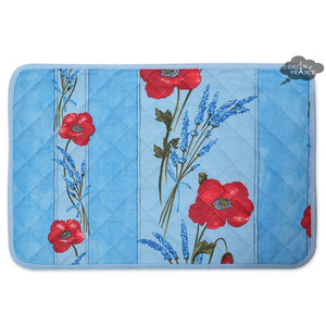 Poppies Sky Blue Acrylic Coated Quilted Placemats by Tissus Toselli