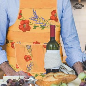 Poppies Yellow Cotton Kitchen Apron by Tissus Toselli