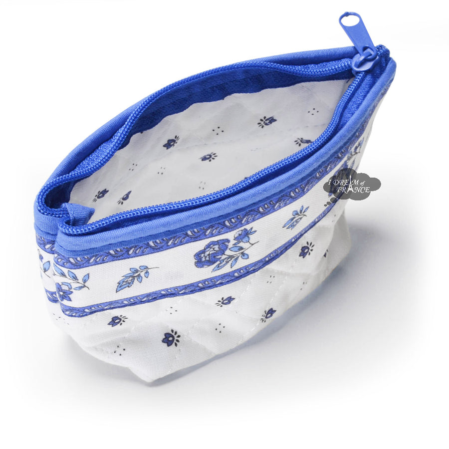 Calisson White & Blue Coin Purse Bag by Tissus Toselli