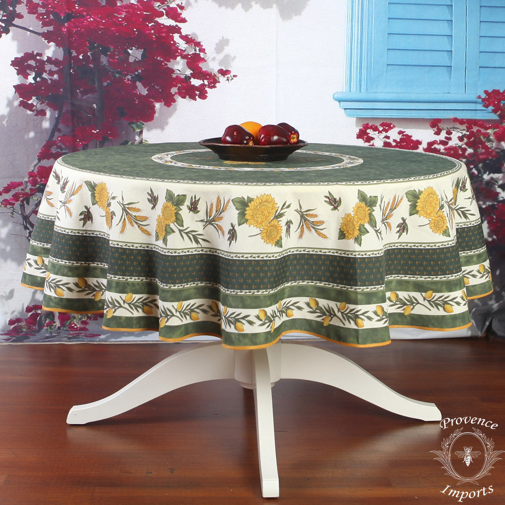 Menton Green French Provencal Tablecloth Round