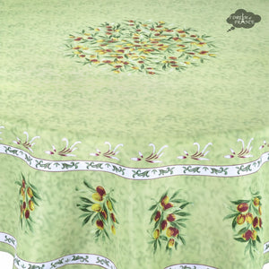 Provence Olivier Green French Provencal Tablecloth - Round - Close Up