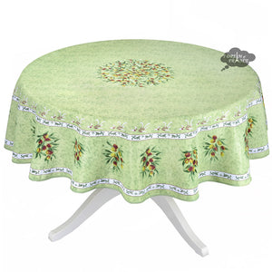 Provence Olivier Green French Provencal Tablecloth - Round