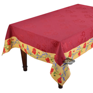 "62"" Square Poppies Yellow & Red Matelassé Tablecloth by Tissus Toselli"