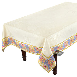 "62x108"" Rectangular Roses & Lavender Matelassé Tablecloth by Tissus Toselli"