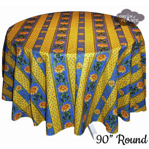 "90"" Round Sunflower Blue Cotton Coated Provence Tablecloth by Le Cluny"