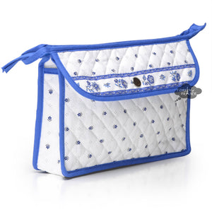 Calisson White & Blue Provence Toiletry Bag by Tissus Toselli
