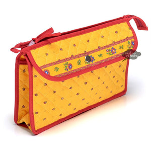 Calisson Yellow & Red Provence Toiletry Bag by Tissus Toselli
