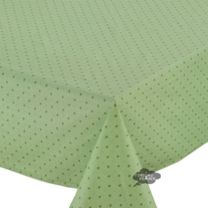 "60x96"" Rectangular Calisson Green Coated Cotton Tablecloth by Tissus Toselli"