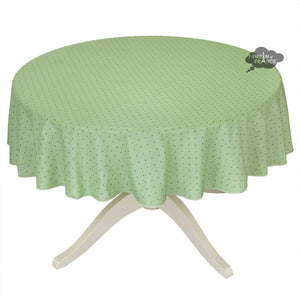 "70"" Round Calisson Green Allover Coated Cotton Tablecloth by Tissus Toselli"