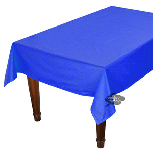 "60x96"" Rectangular Calisson Sapphire Blue Coated Cotton Tablecloth by Tissus Toselli"