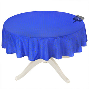 "58"" Round Calisson Sapphire Blue Allover Coated Cotton Tablecloth by Tissus Toselli"