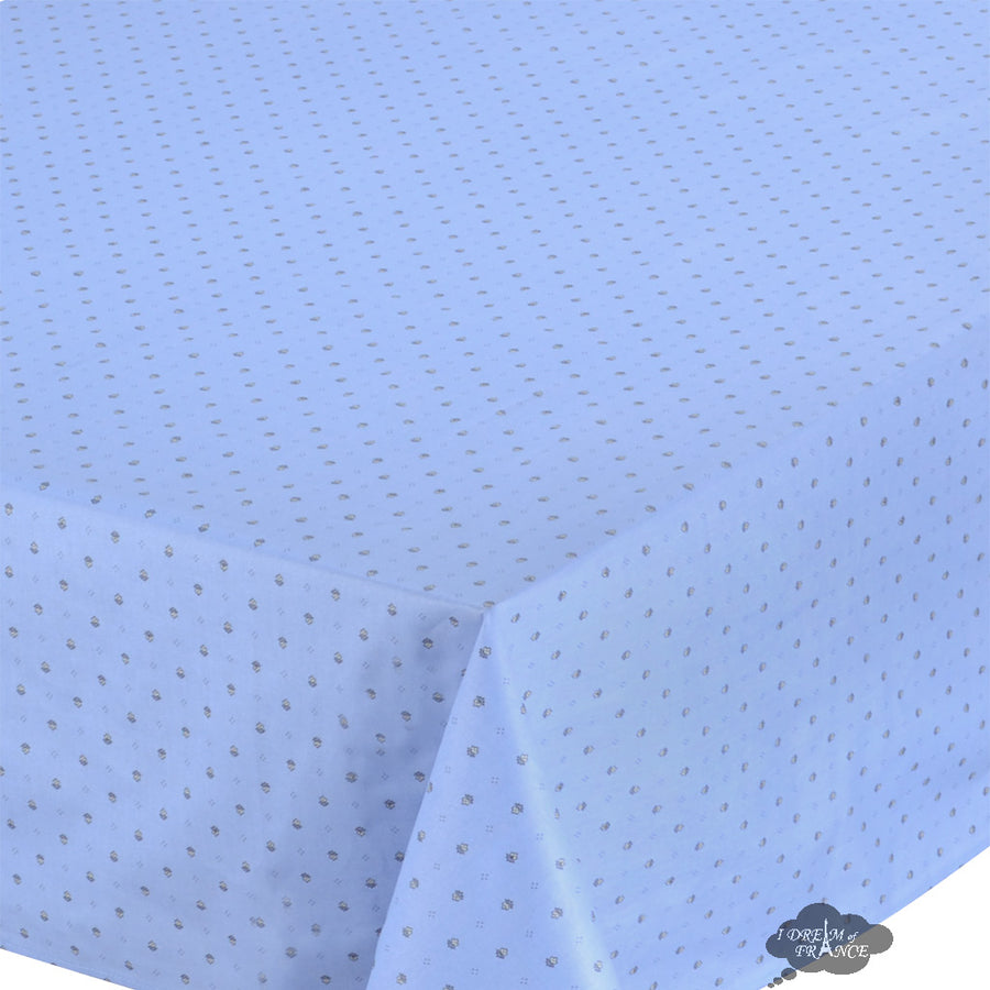 "60x96"" Rectangular Calisson Sky Blue Coated Cotton Tablecloth by Tissus Toselli"