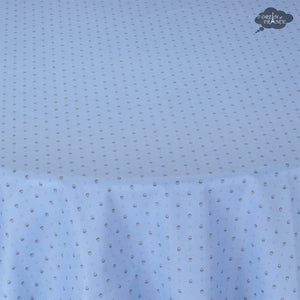 "70"" Round Calisson Sky Blue Allover Coated Cotton Tablecloth by Tissus Toselli"