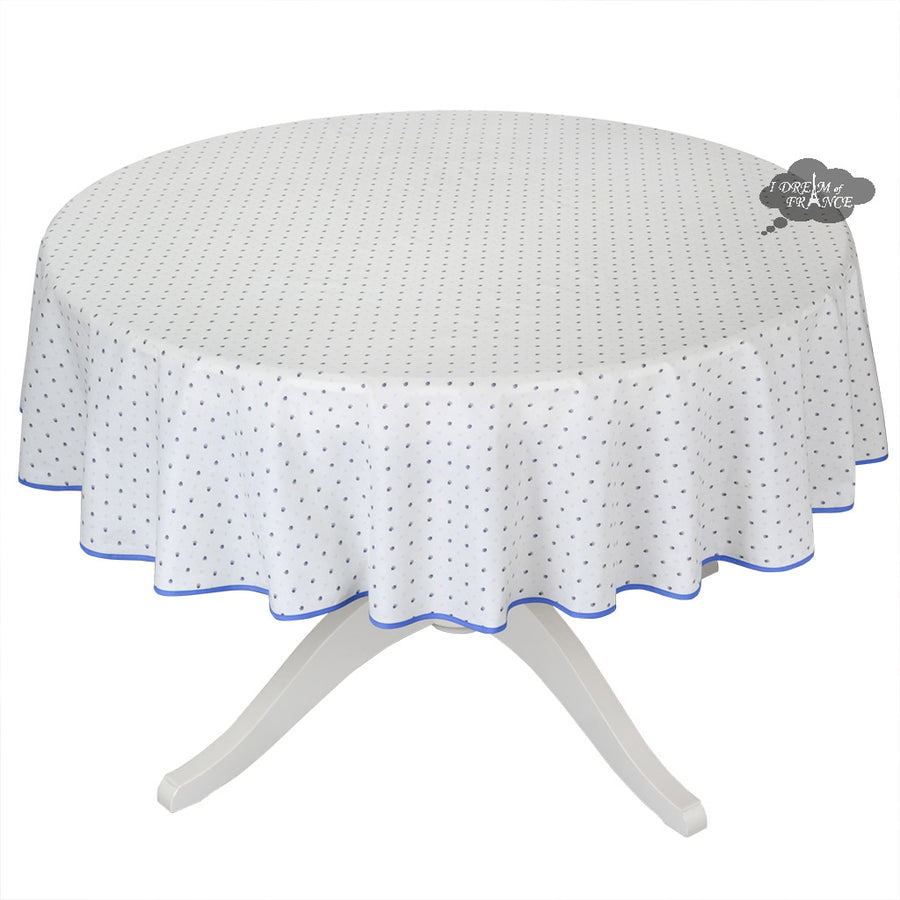 "58"" Round Calisson White & Blue Allover Coated Cotton Tablecloth by Tissus Toselli"