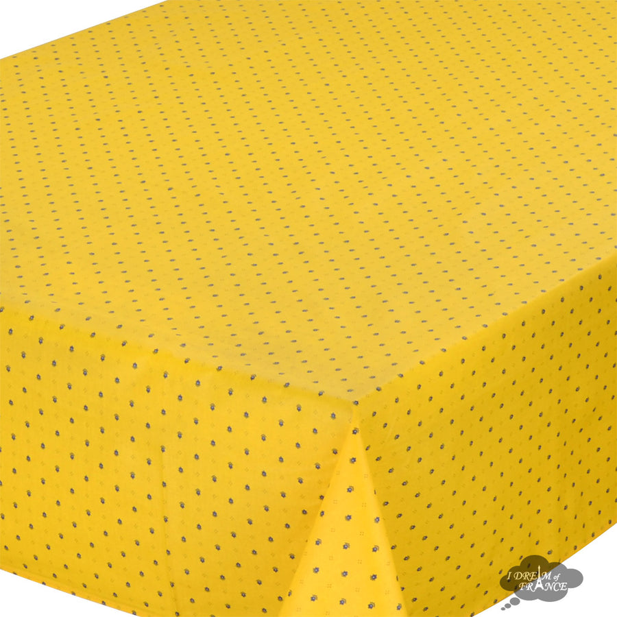 "60x96"" Rectangular Calisson Yellow & Blue Coated Cotton Tablecloth by Tissus Toselli"