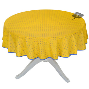 "58"" Round Calisson Yellow & Blue Allover Coated Cotton Tablecloth by Tissus Toselli"