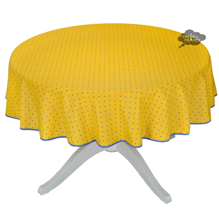 "70"" Round Calisson Yellow & Blue Allover Coated Cotton Tablecloth by Tissus Toselli"