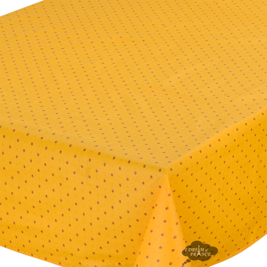 "60x96"" Rectangular Calisson Yellow & Red Coated Cotton Tablecloth by Tissus Toselli"