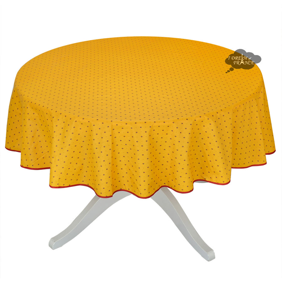 "70"" Round Calisson Yellow & Red Allover Coated Cotton Tablecloth by Tissus Toselli"