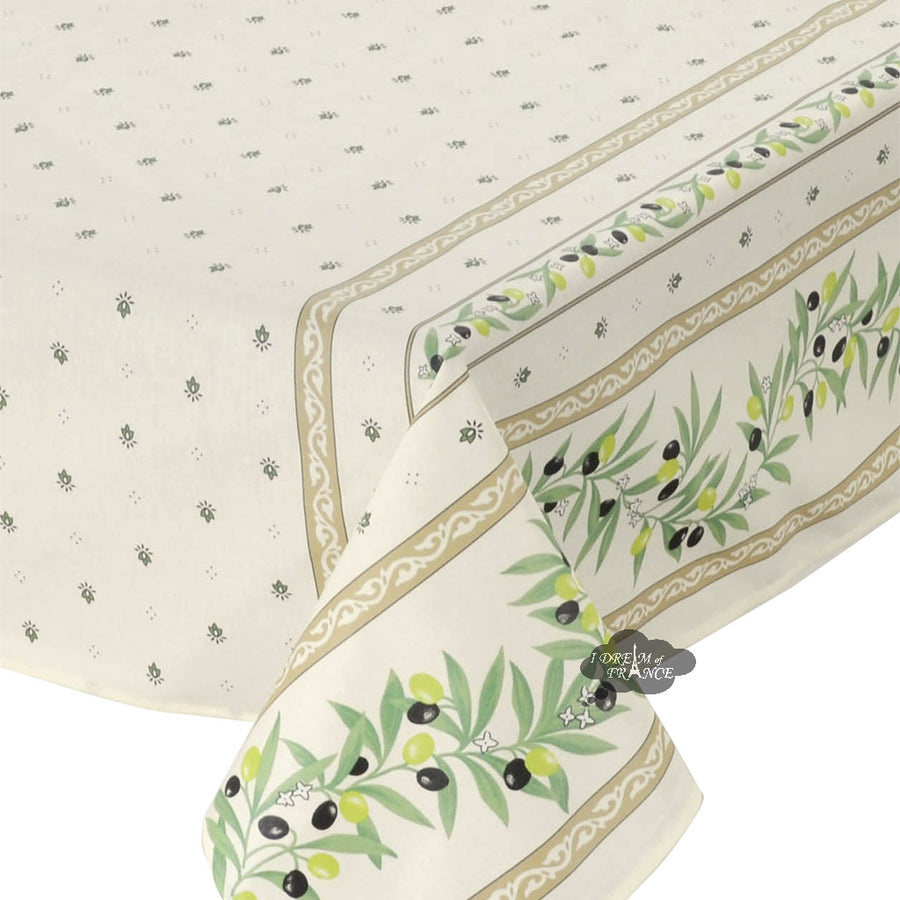 "60x96"" Rectangular Ramatuelle Cream & Green Coated Cotton Tablecloth by Tissus Toselli"