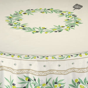 "70"" Round Ramatuelle Cream Coated Cotton Tablecloth by Tissus Toselli"