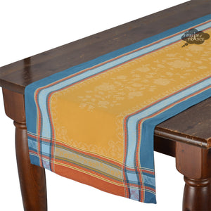 Ramatuelle Curry Jacquard Cotton Table Runner by L'Ensoleillade