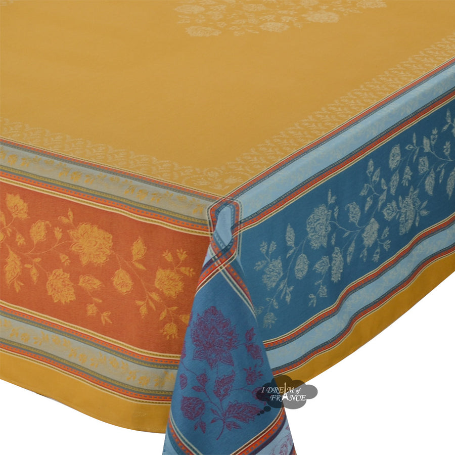 "62x98"" Rectangular Ramatuelle Curry French Jacquard Tablecloth by L'Ensoleillade"