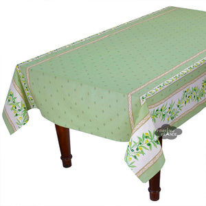 "60x120"" Rectangular Ramatuelle Green Coated Cotton Tablecloth by Tissus Toselli"