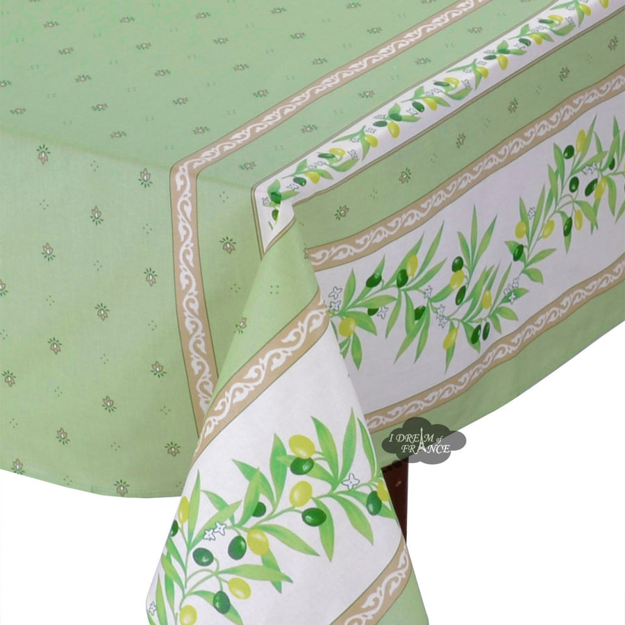 "58"" Square Ramatuelle Green Coated Cotton Tablecloth by Tissus Toselli"