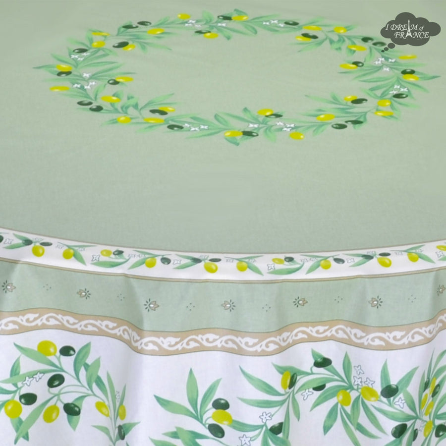 "70"" Round Ramatuelle Green & White Coated Cotton Tablecloth by Tissus Toselli"