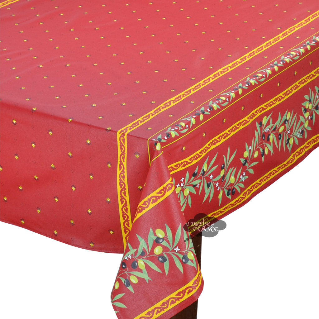 "60x96"" Rectangular Ramatuelle Red Coated Cotton Tablecloth - Close Up"