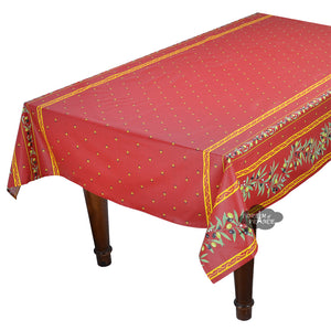 "60x96"" Rectangular Ramatuelle Red Coated Cotton Tablecloth by Tissus Toselli"