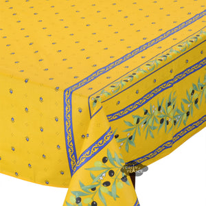 "60x96"" Rectangular Ramatuelle Yellow & Blue Coated Cotton Tablecloth by Tissus Toselli"