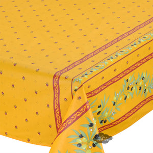 "60x120"" Rectangular Ramatuelle Yellow & Red Coated Cotton Tablecloth by Tissus Toselli"