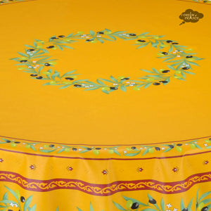 "70"" Round Ramatuelle Yellow & Red Coated Cotton Tablecloth - Close Up"