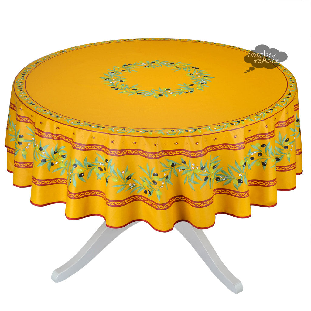 70 round ramatuelle yellow red coated cotton tablecloth for 85 inch table runner