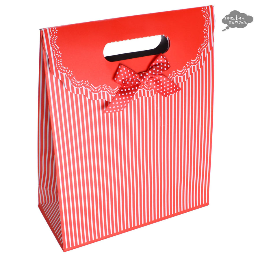 Red and White Reclosable Gift Bag with Velcro Flap