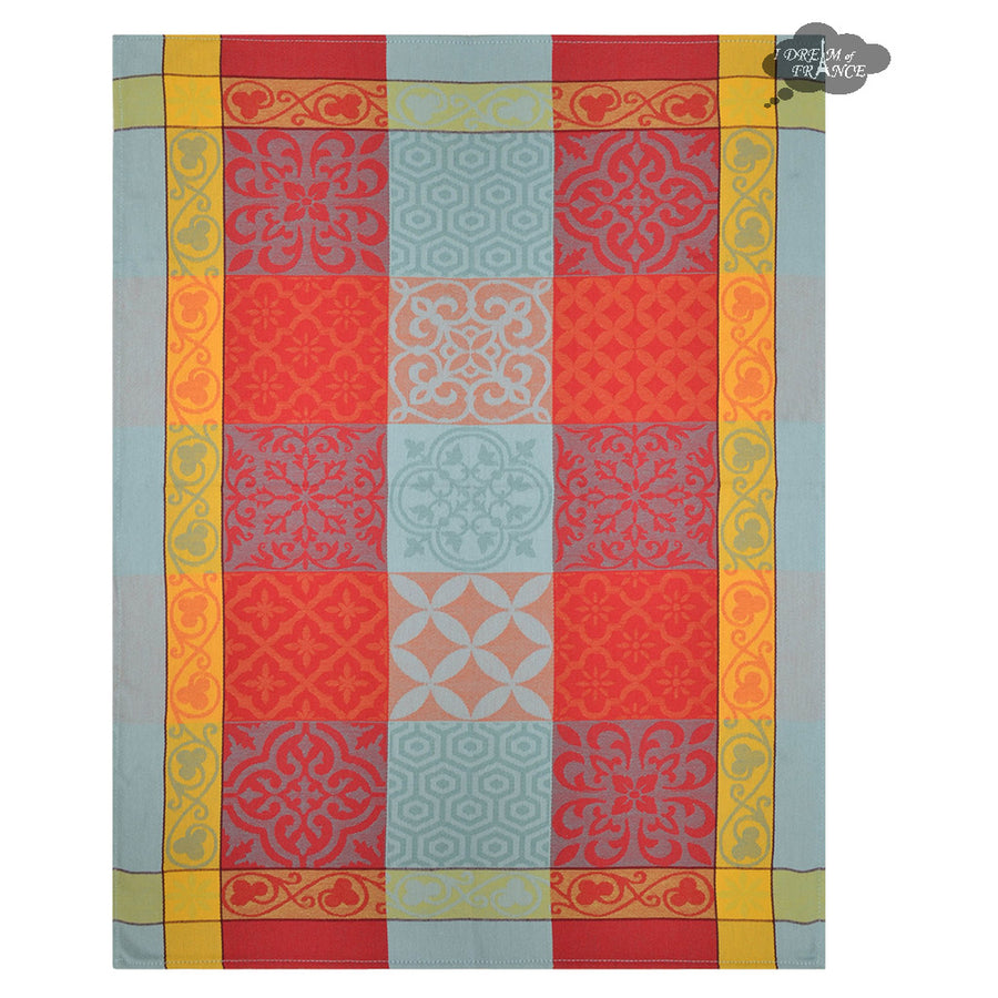 Reillanne Aqua & Red Cotton French Jacquard Dish Towel