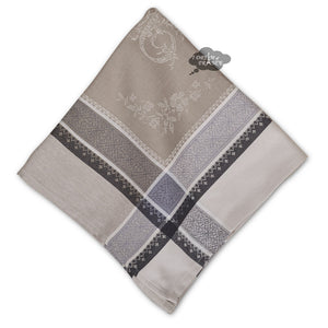 Romantique Greige French Cotton Jacquard Napkin by Tissus Toselli