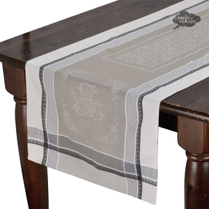 Romantique Greige Jacquard Cotton Table Runner by Tissus Toselli