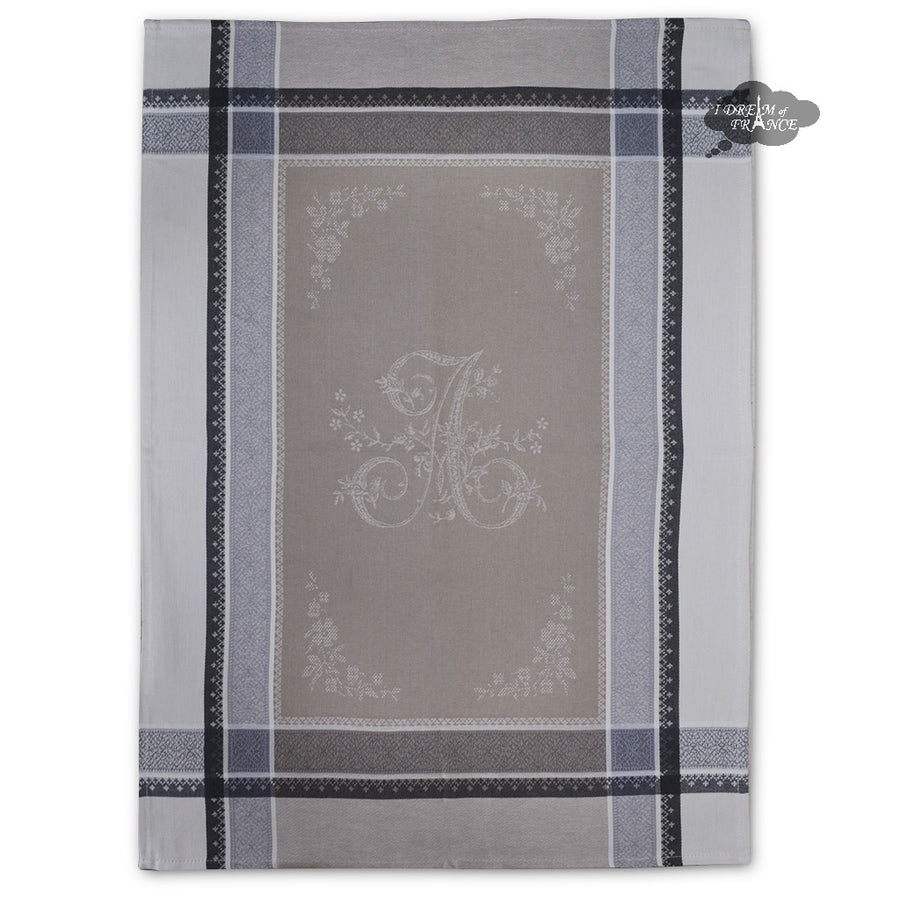 Romantique Greige French Cotton Jacquard Dish Towel by Tissus Toselli