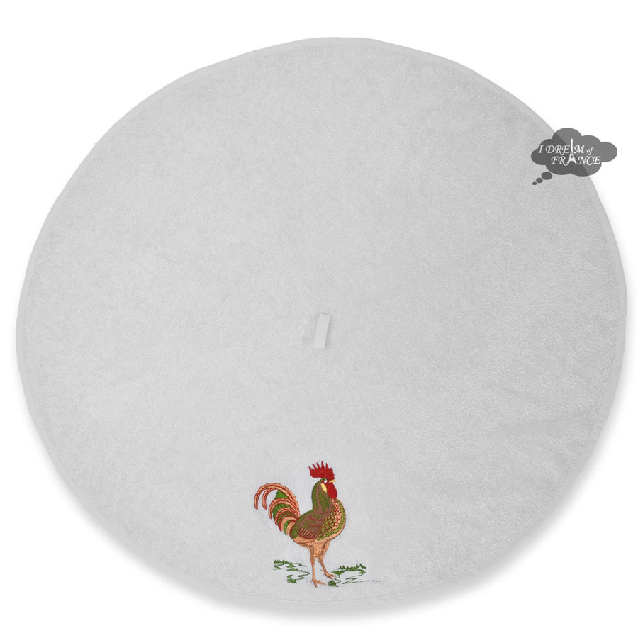Round Terry Hand Towel Rooster White by Tissus Toselli