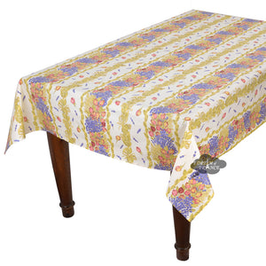 "60x120"" Rectangular Roses & Lavender Acrylic Coated Cotton Tablecloth by Tissus Toselli"