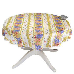 "58"" Round Roses & Lavender Coated Cotton Tablecloth by Tissus Toselli"