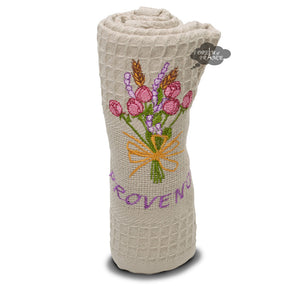 Roses & Lavender Taupe Waffle Weave Kitchen Towel by Tissus Toselli