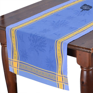 "20x58"" Senanque Blue Jacquard Cotton Table Runner with Teflon"