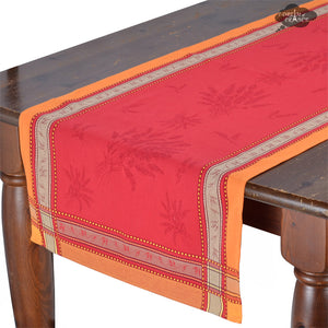 "20x58"" Senanque Red Jacquard Cotton Table Runner with Teflon"