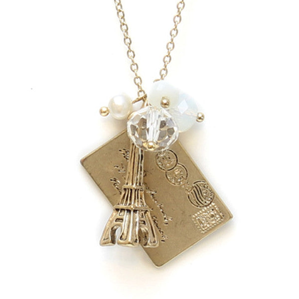 Eiffel Tower Gold Necklace with Cream Charms