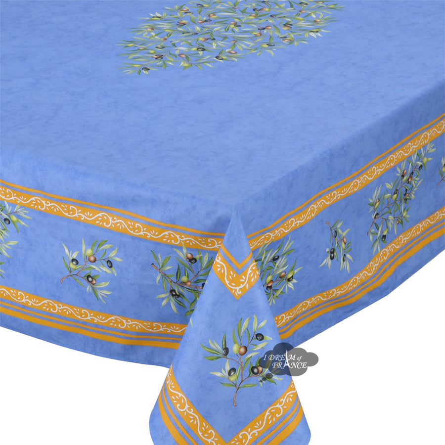 "60x78"" Rectangular Clos des Oliviers Blue Coated Cotton Tablecloth"