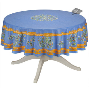 "70"" Round Clos des Oliviers Blue Round Coated Cotton Tablecloth by Tissus Toselli"